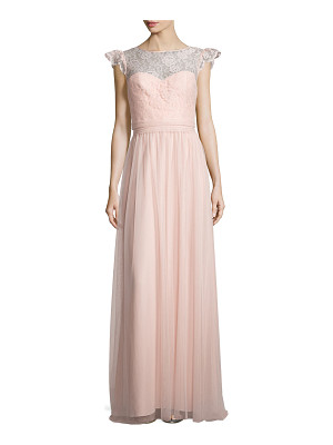 Amsale Cap-Sleeve Lace-Trim Tulle Gown