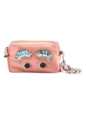 Anya Hindmarch Diamante Eyes Satin Clutch Bag