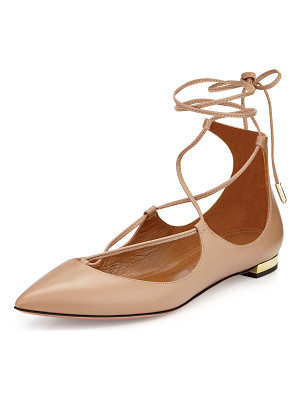AQUAZZURA Christy Lace-Up Pointed-Toe Flat