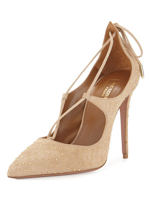 AQUAZZURA Christy Studded Lace-Up Pump