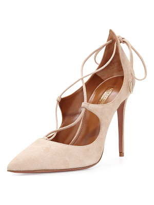 AQUAZZURA Christy Suede Lace-Up Pump