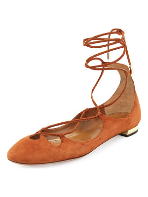 Aquazzura Dancer Suede Lace-Up Flat