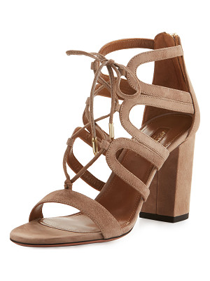 AQUAZZURA Holli Suede Lace-Up 85mm Sandal