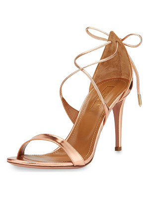 AQUAZZURA Linda Metallic Leather 75mm Sandal