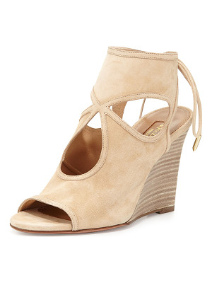 AQUAZZURA Sexy Thing Suede 85mm Wedge Sandal
