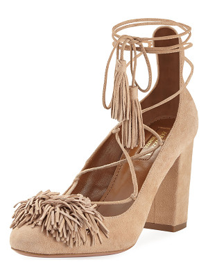 AQUAZZURA Wild Thing Fringe Block-Heel Pump