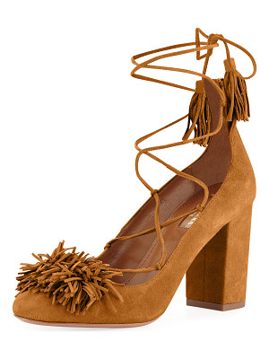 Aquazzura Wild Thing Fringed Suede Block-Heel Pump