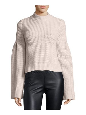 AUTUMN CASHMERE Mock-Neck Trumpet-Sleeve Sweater