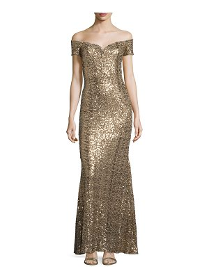Badgley Mischka OFF SHLDR SWTHRT SQN GWN