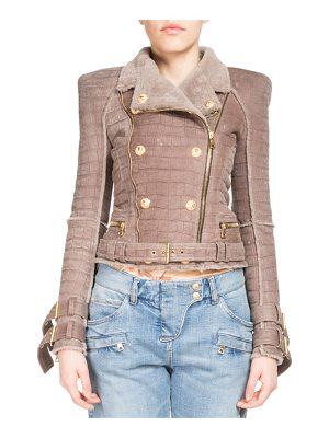 BALMAIN Crocodile-Embossed Shearling Biker Jacket