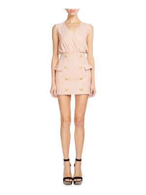 Balmain Sleeveless Suede Button-Skirt Dress