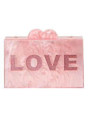 BARI LYNN Girls' Like/Love Glittered Acrylic Box Clutch Bag