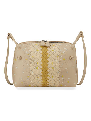 Bottega Veneta Floral-Embroidered Intrecciato Crossbody Bag