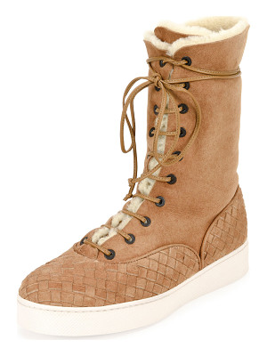 BOTTEGA VENETA Intrecciato-Trim Shearling Fur Mid-Calf Boot