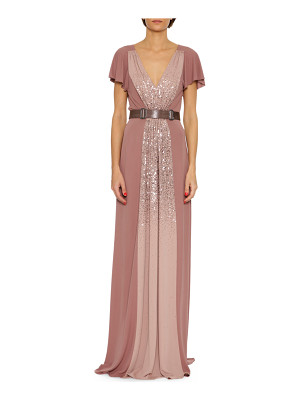 Bottega Veneta Sequined Jersey V-Neck Gown