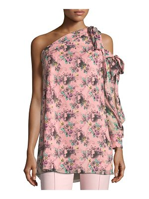 BOUTIQUE MOSCHINO Floral Cameo-Print One-Shoulder Silk Tunic