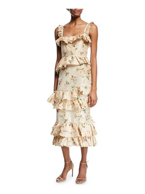 BROCK COLLECTION Daria Floral-Print Tiered Taffeta Corset Midi Dress