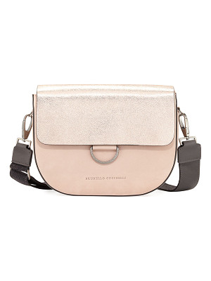 BRUNELLO CUCINELLI Metallic Leather/Nubuck Crossbody Bag