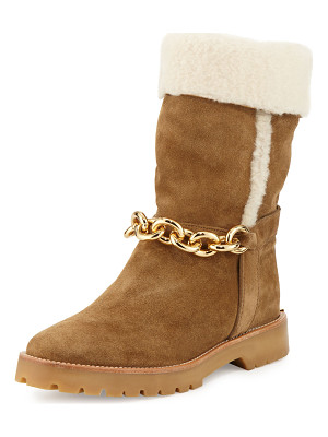 BURBERRY Raywood Fur-Cuff Ankle-Chain Boot
