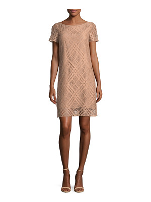 Burberry Short-Sleeve Check Lace Dress