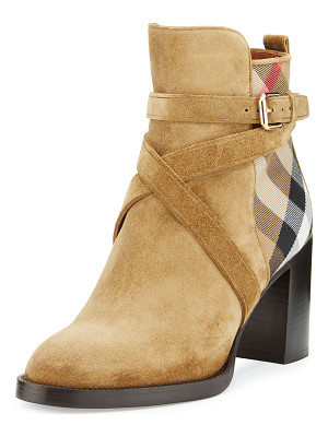 BURBERRY Vaughan Check & Suede 70mm Bootie
