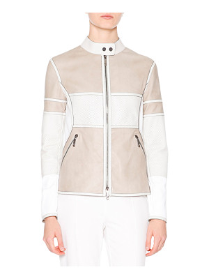 Callens Two-Tone Leather Biker Jacket