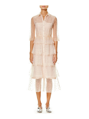 Carolina Herrera Embroidered Tulle 3/4-Sleeve Trench Dress
