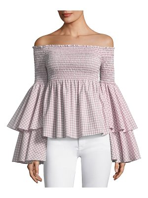 Caroline Constas Appolonia Off-the-Shoulder Bell-Sleeve Check-Print Top