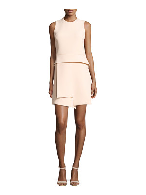 Carven Sleeveless Notched Crepe Peplum Dress