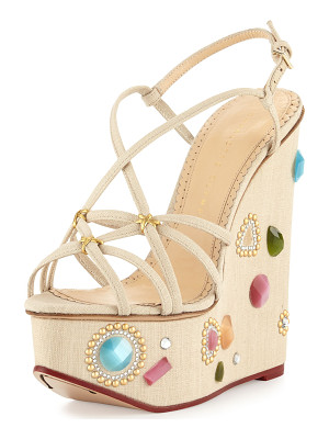 Charlotte Olympia Elizabeth Jeweled Wedge Sandal