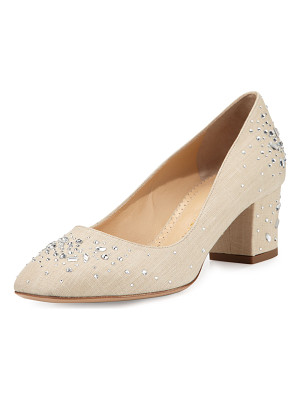 CHARLOTTE OLYMPIA Low-Heel Jeweled Linen Pump