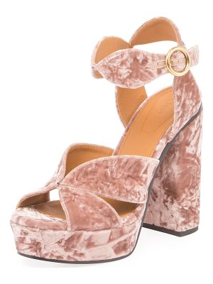 CHLOE Graphic Leaves Velvet Sandal
