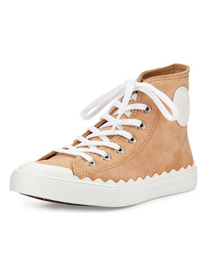 CHLOE Scalloped Suede High-Top Sneaker