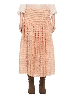 CHLOE Tiered Ribbon Lace Ruffled Silk Skirt
