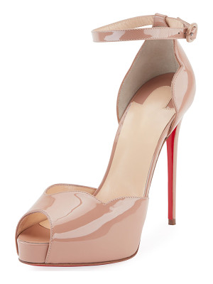 CHRISTIAN LOUBOUTIN Aketata Patent Ankle-Wrap Red Sole Pump