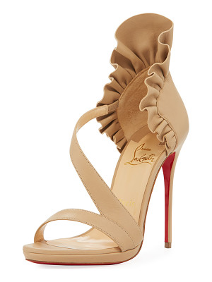 CHRISTIAN LOUBOUTIN Col Ankle Ruffle Red Sole Sandal