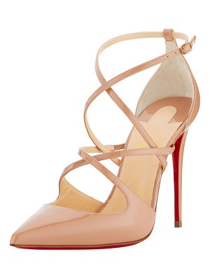 CHRISTIAN LOUBOUTIN Cross Fliketa Patent Red Sole Pump