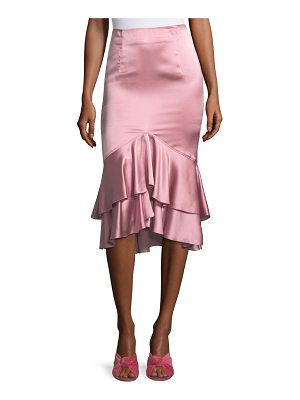 Cinq A Sept Anissa Fitted Satin Midi Skirt with Ruffled Hem