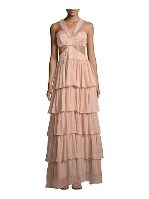 CINQ A SEPT Leda Sleeveless Cutout-Waist Tiered Silk Evening Gown