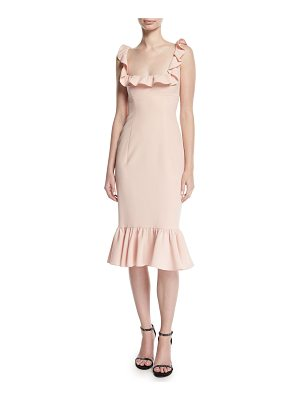 CINQ A SEPT Opalina Square-Neck Flounce-Hem Cocktail Dress
