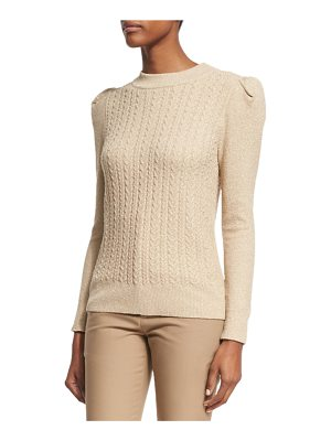 CO. Metallic Cable-Knit Puff-Sleeve Sweater