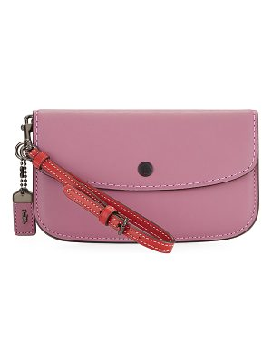 COACH Two-Tone Leather Wristlet Clutch Bag