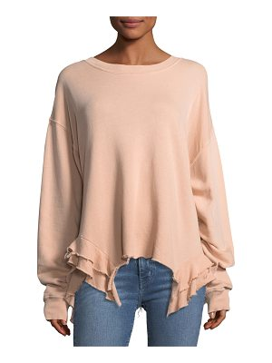 CURRENT/ELLIOTT The Slouchy Ruffle Cotton Sweatshirt