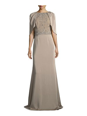David Meister Capelet Jewel-Bodice Short-Sleeve Gown