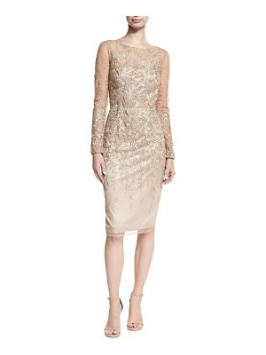 DAVID MEISTER Long-Sleeve Embroidered Metallic Lace Cocktail Dress