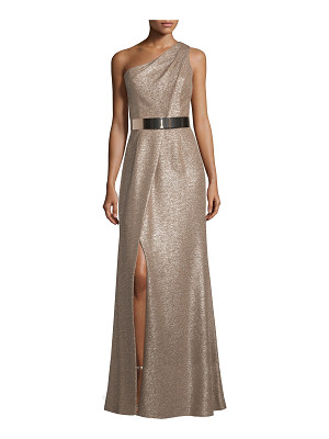 David Meister One-Shoulder Belted Metallic Gown