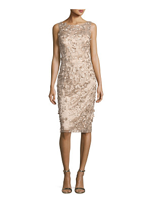 David Meister Sleeveless Metallic 3D Floral Cocktail Dress