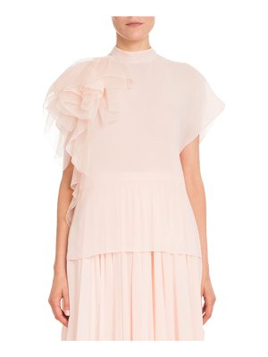 DELPOZO Cap-Sleeve Mock-Neck Silk Georgette Blouse W/ Ruffled Detail