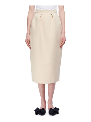 DELPOZO Pleated Cotton Pencil Skirt