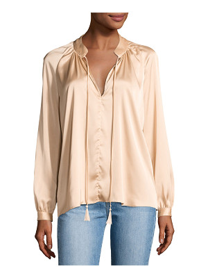 DEREK LAM 10 CROSBY Nehru Long-Sleeve Satin Blouse